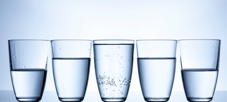 full, half empty and half full glasses with water